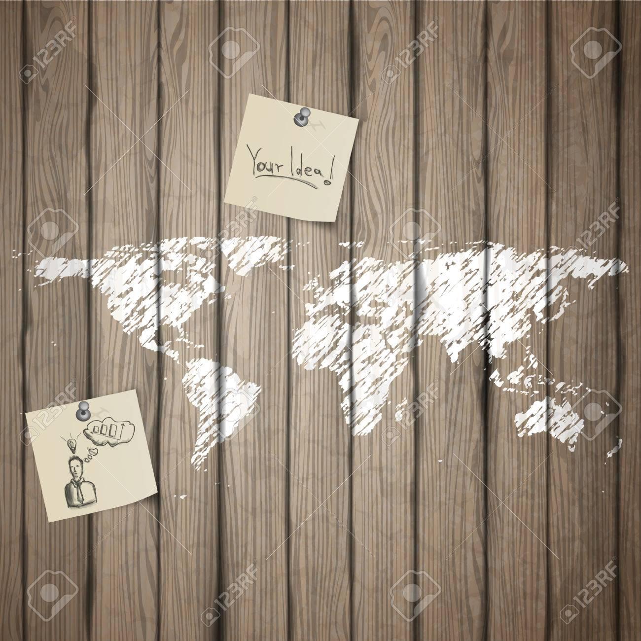 Ordinaire Papier Peint Vieille Planche #7: Peint Carte De La Terre Sur La Vieille Planche De Bois Avec Du Papier De  Note