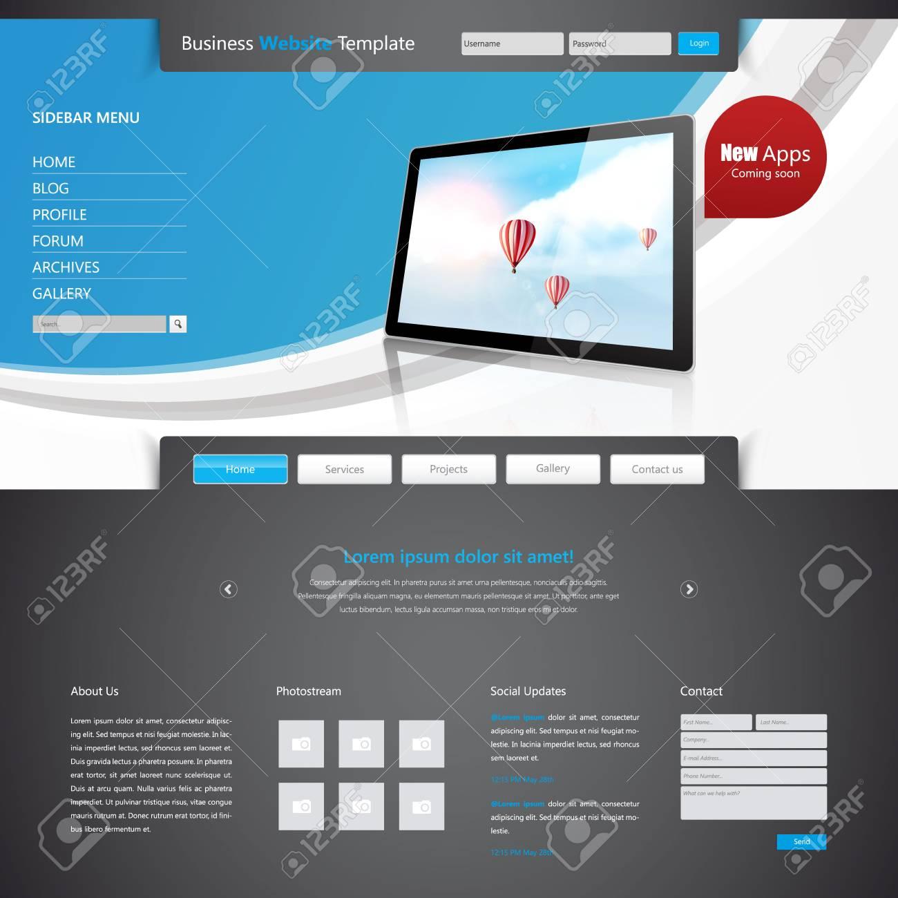 Moderno Negocio Limpio Diseño Plantilla De Sitio Web, Ilustración ...