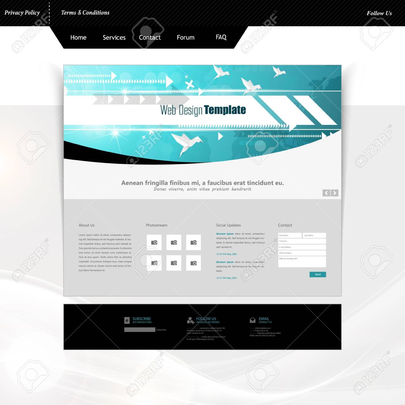 Website Templates With Abstract Technology Header, Eps 10 Vector ...