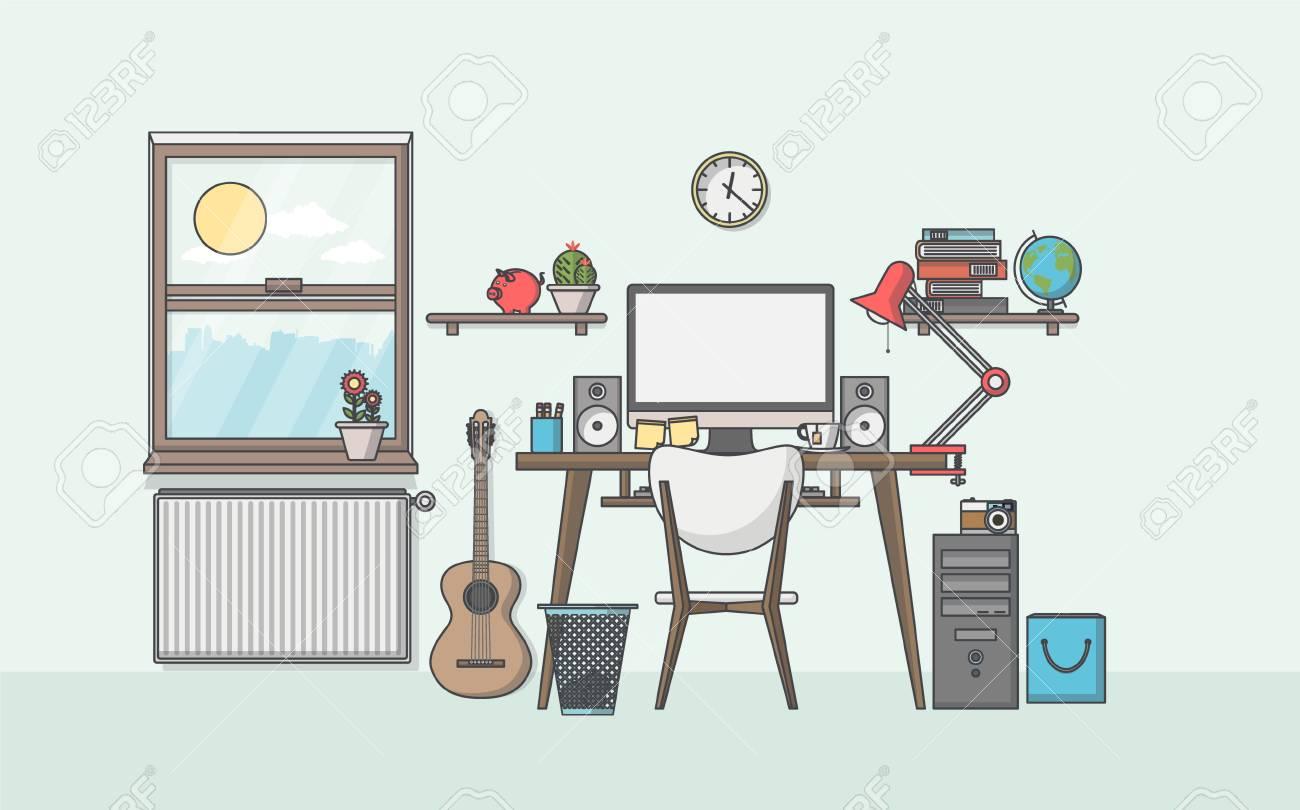 Illustration D\'un Lieu De Travail Moderne Dans La Chambre. Espace De ...