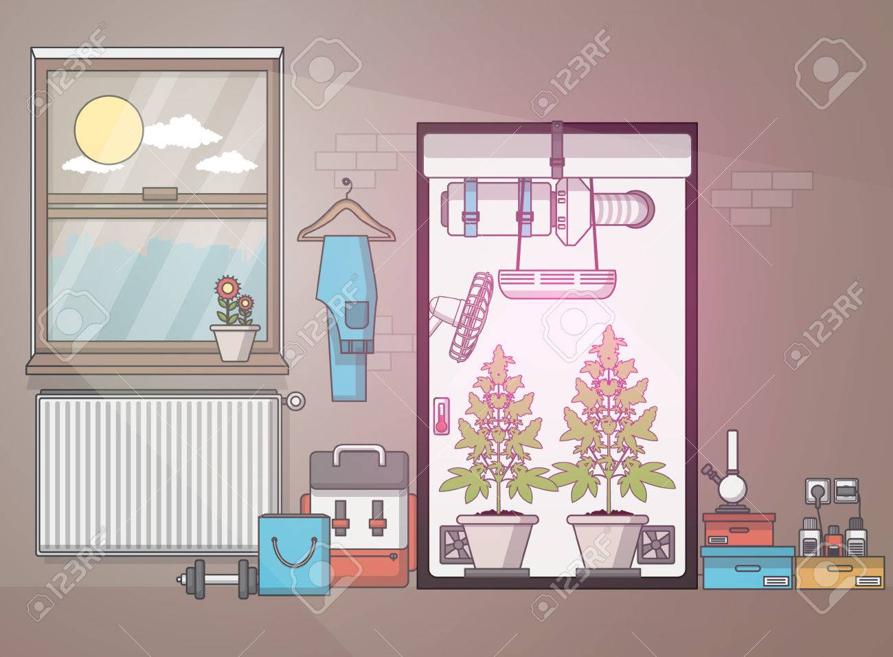 Flat Design, Quality of medical cannabis growing in indoor growbox. Vector illustration - 57453467