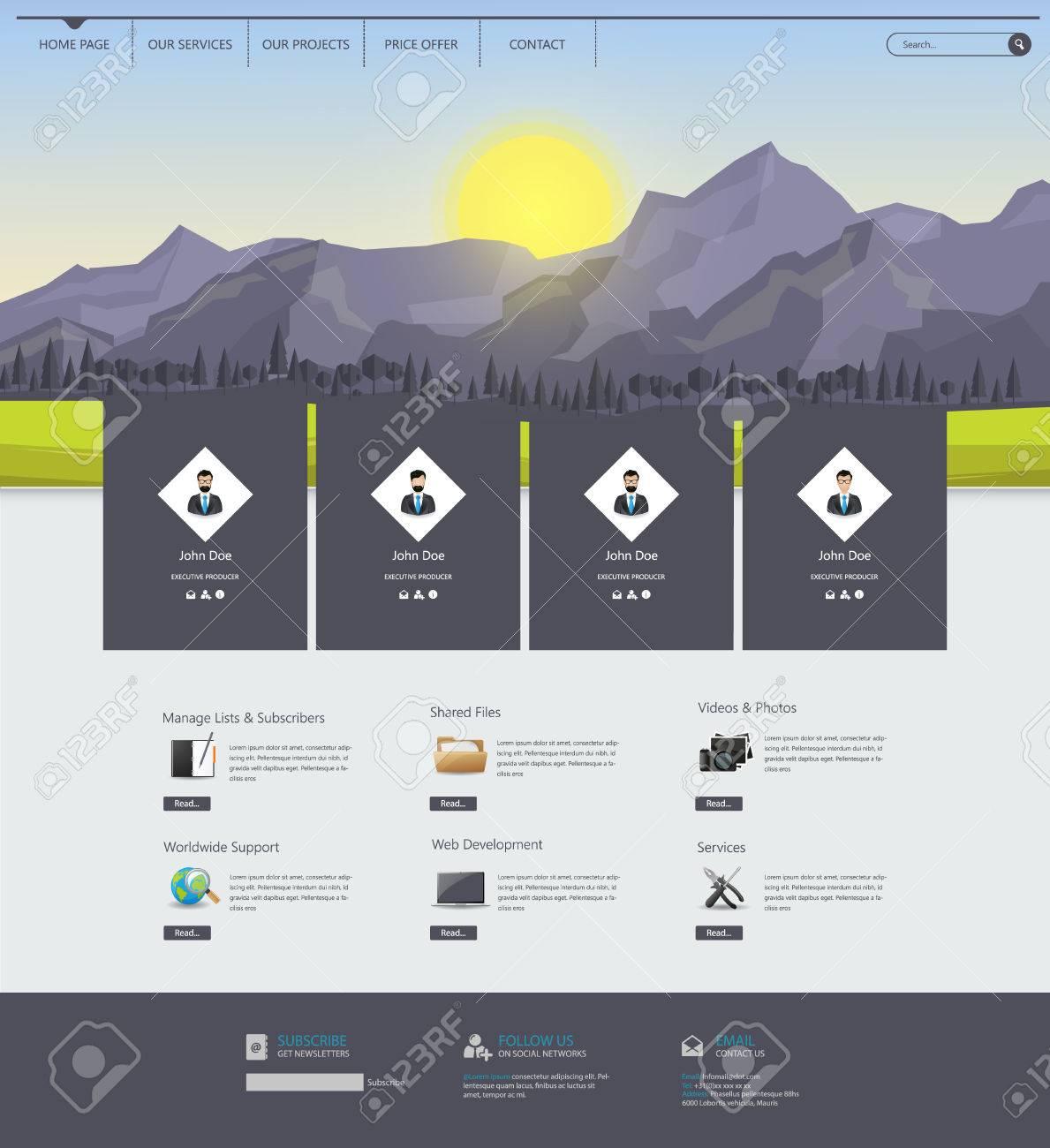Vector Website Design Template With Polygon Landscape Illustration ...