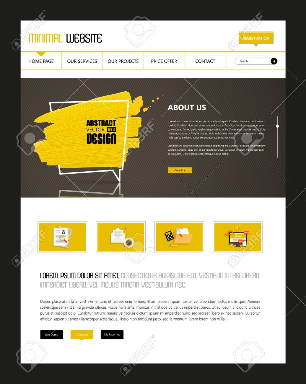 website template vector eps10, modern web design with flat ui