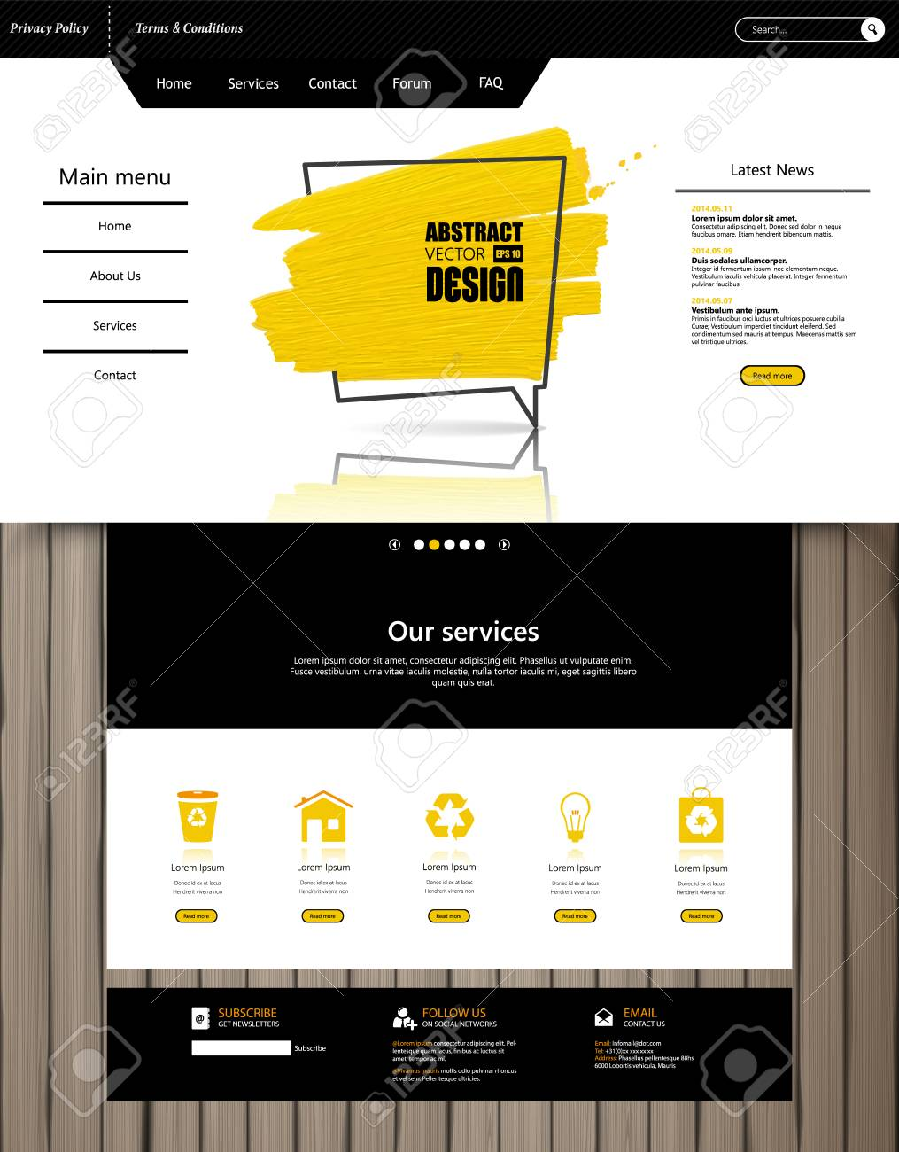 Modern creative website design template royalty free cliparts.