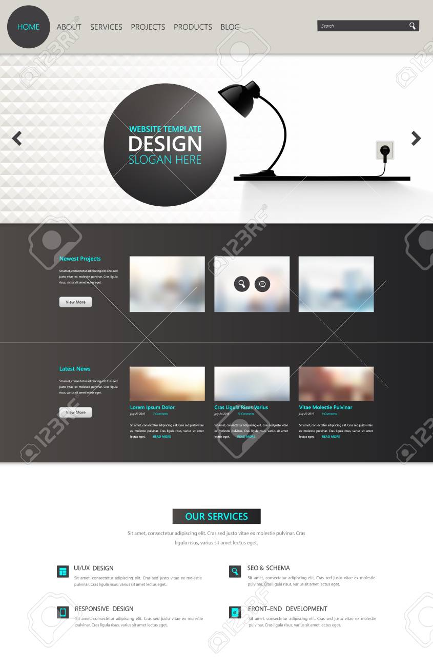 Modern One Page Website Template Vector Modern Web Design With
