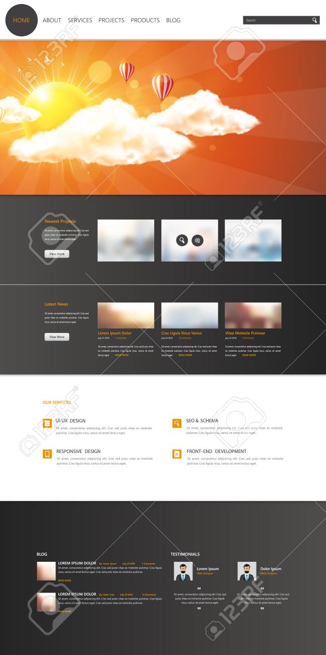 Modern One Page Website Template Vector Web Design With Flat