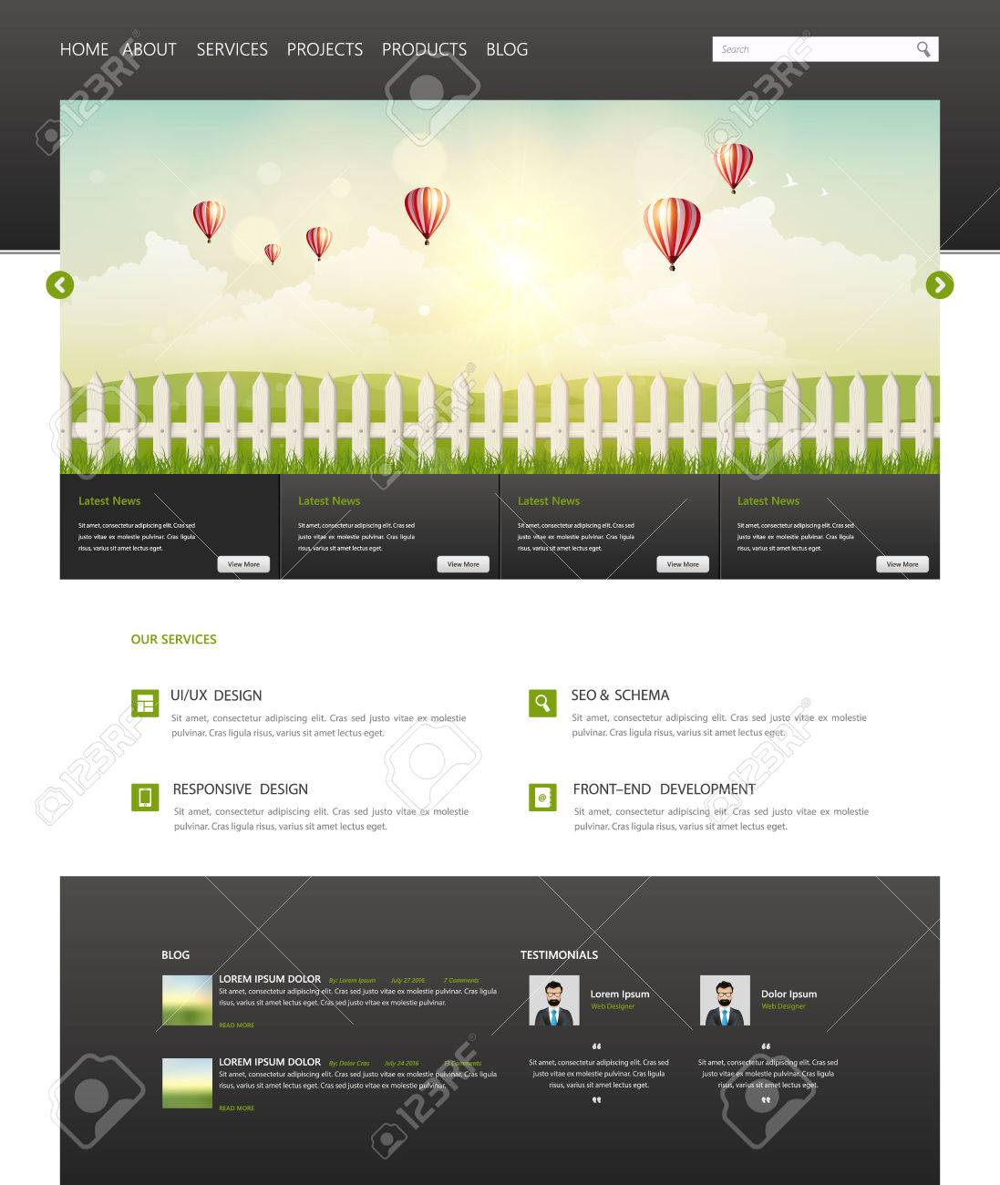 Eco Modern One Page Website Template Vector Modern Web Design