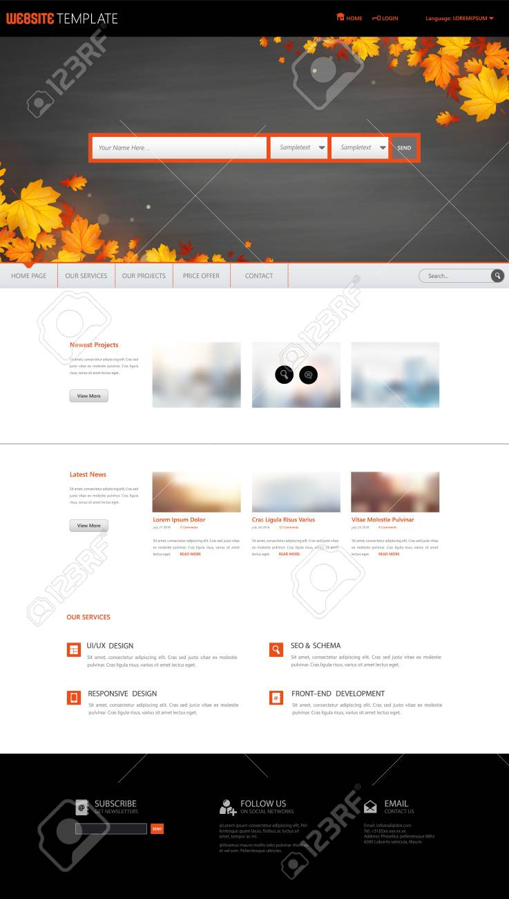 one page website design template theme in autumn autumn leaves