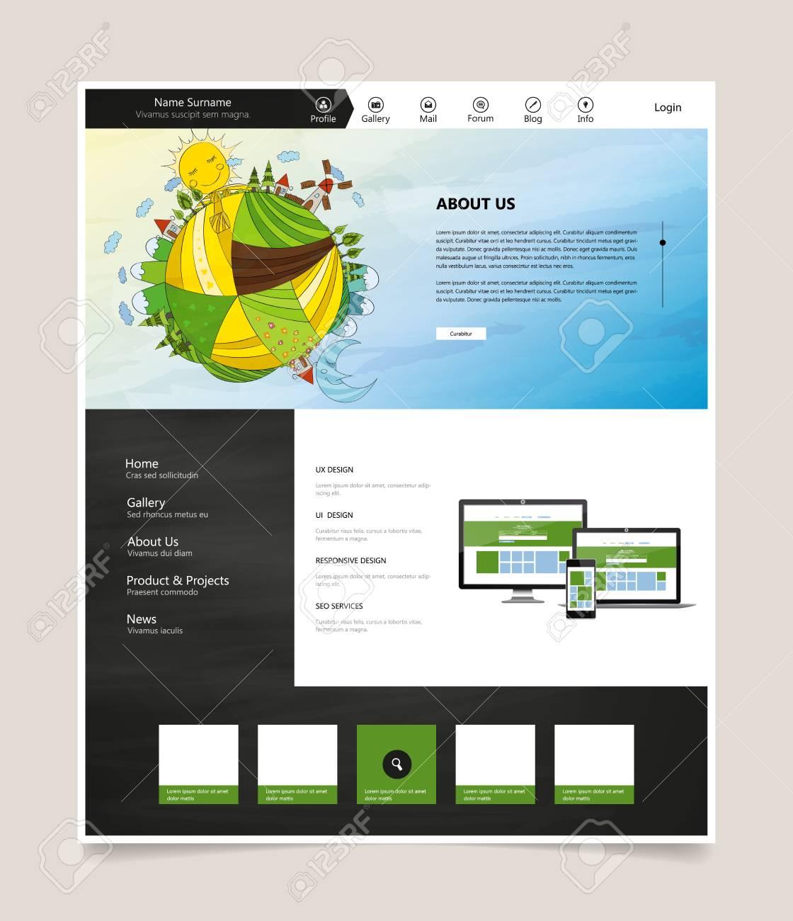 Plantilla De Sitio Web, Con Encabezado De Ilustración De Dibujos ...