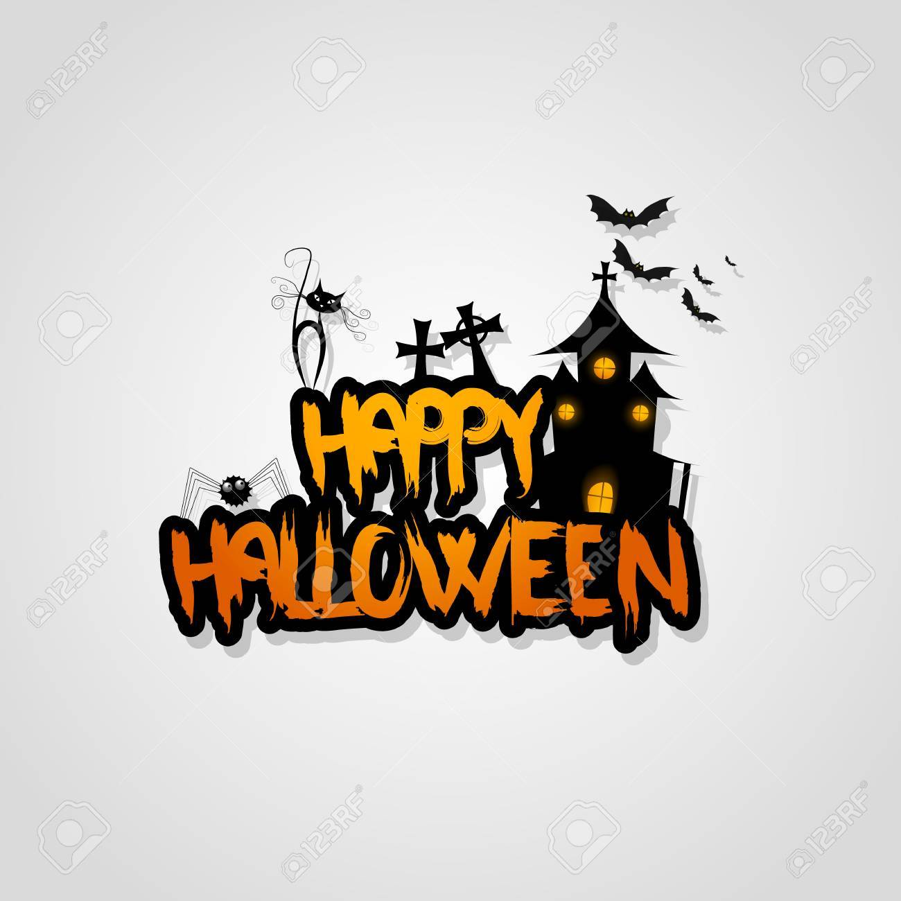 Vector Design With Halloween Happy Halloween Lettering Royalty Free Cliparts Vectors And Stock Illustration Image 64263271