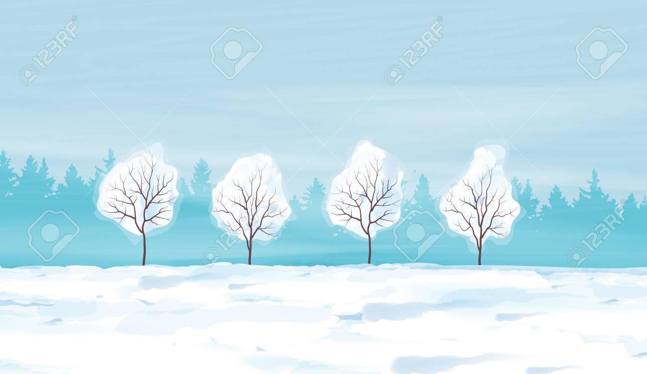 水彩の冬風景ベクトル イラストのイラスト素材ベクタ Image 69362669