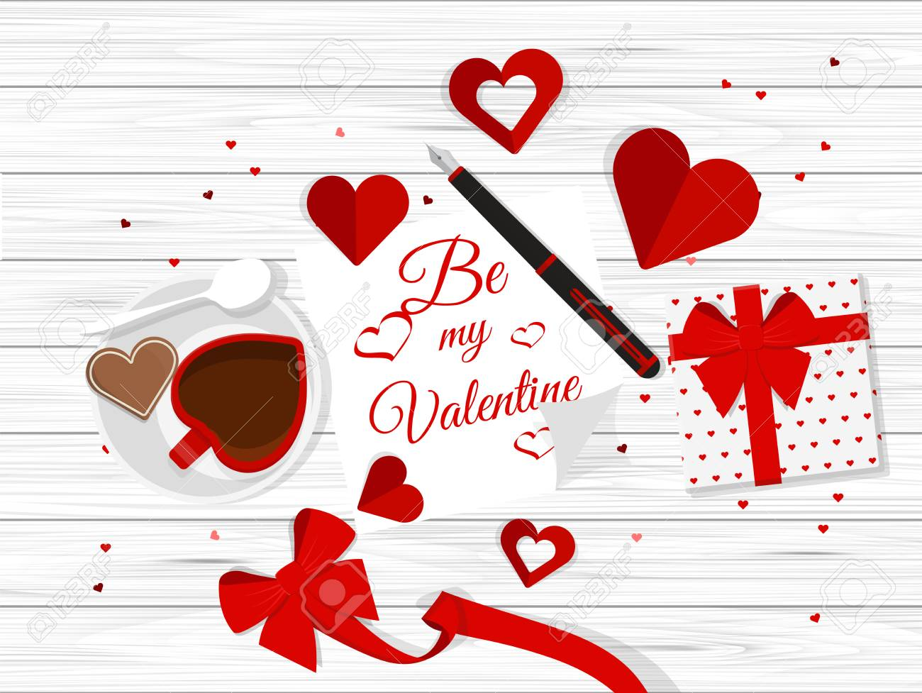 Vector Top View Of Valentine S Day Elements On Desktop Royalty Free
