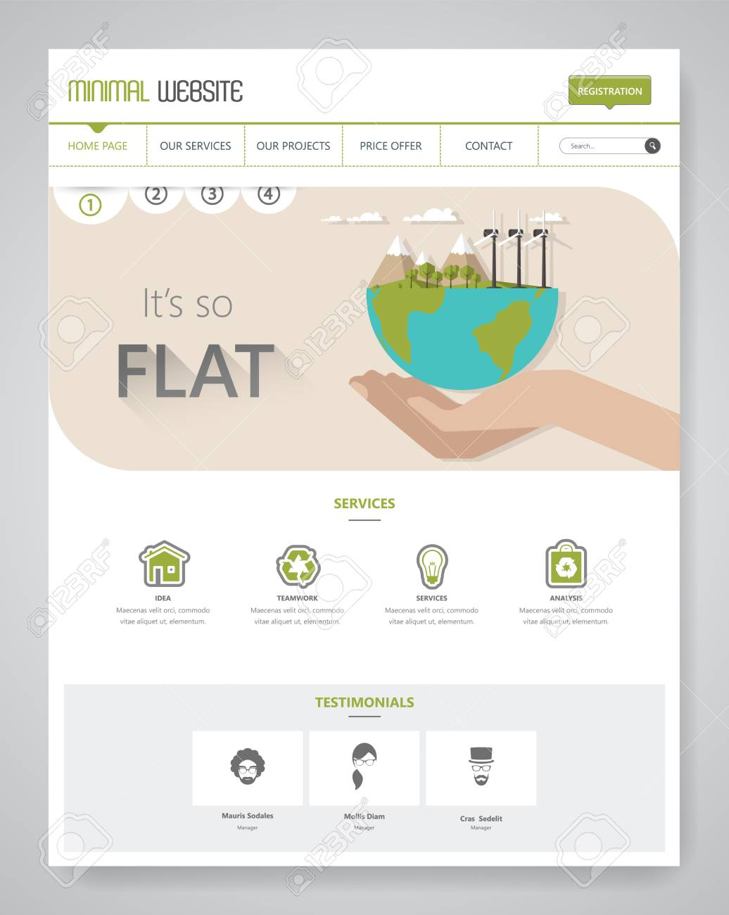 Eco Clean Modern Website Template Interface Vector Illustration