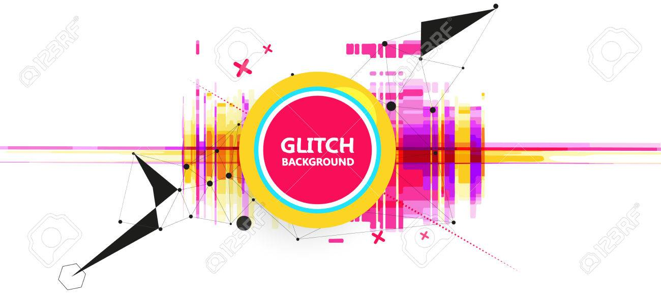 Geometric glitch abstract vector background. Modern chaos illustration. - 76629789