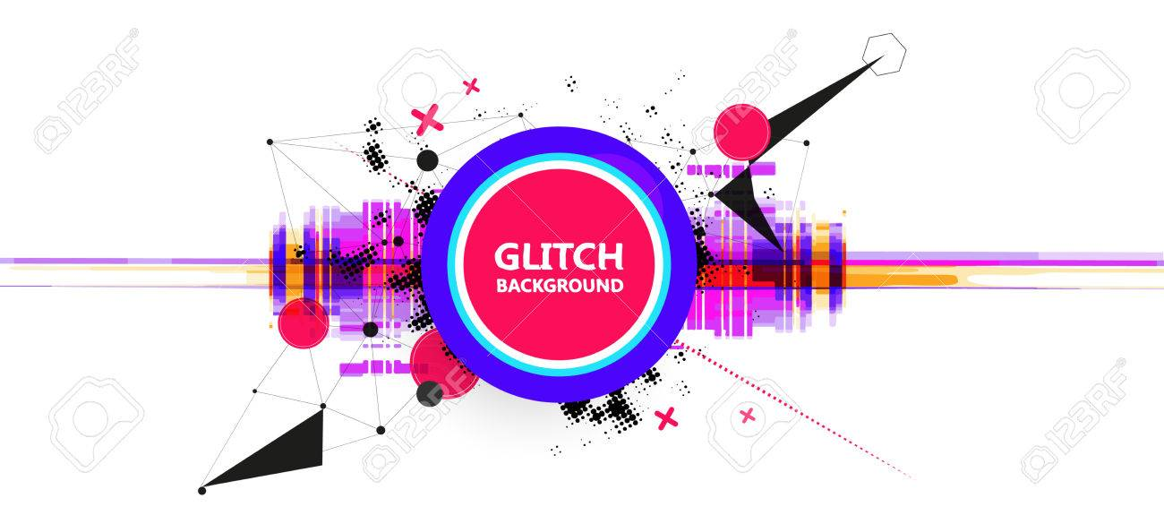 Geometric glitch abstract vector background. Modern chaos illustration. - 76730886