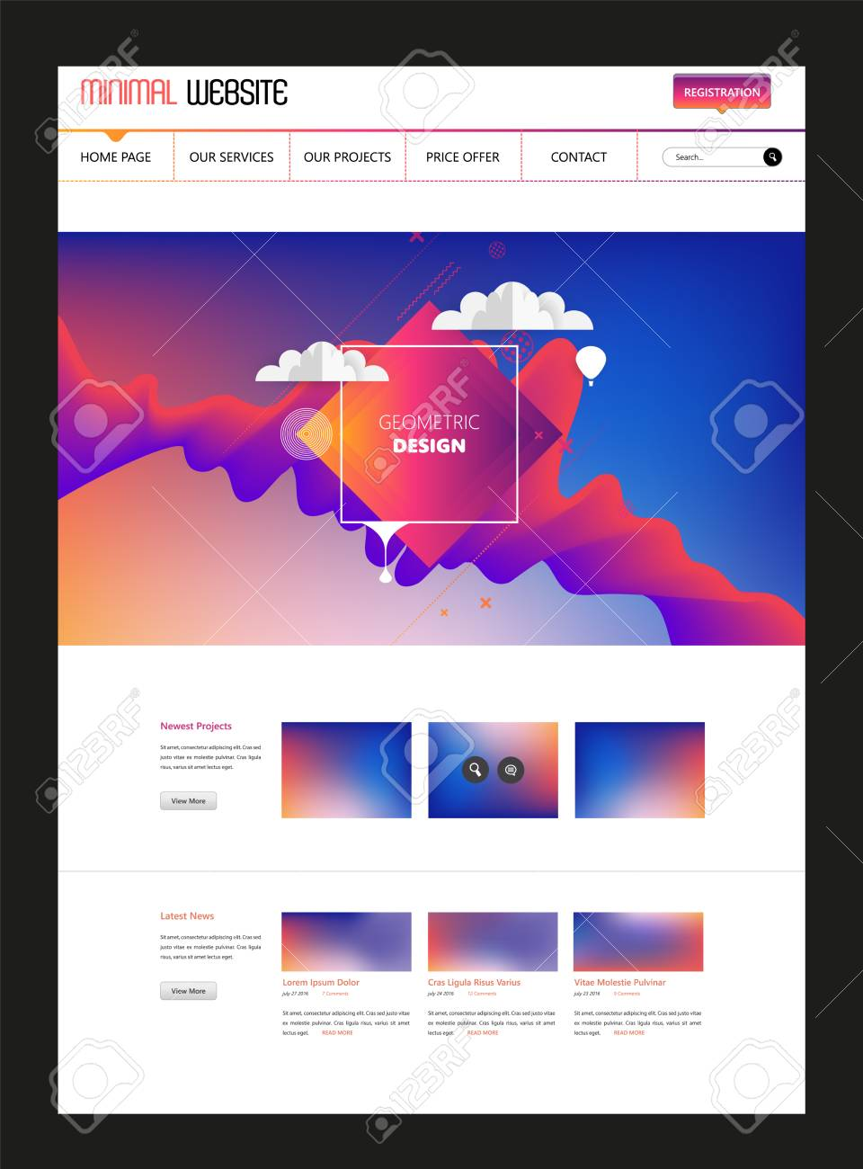 Colorful Modern Web Page Design For Website And Mobile Website