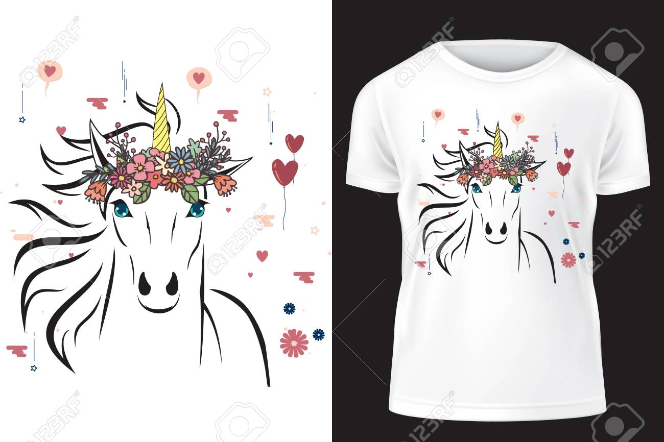Unicorn with flower crown  Template for print on T-shirt