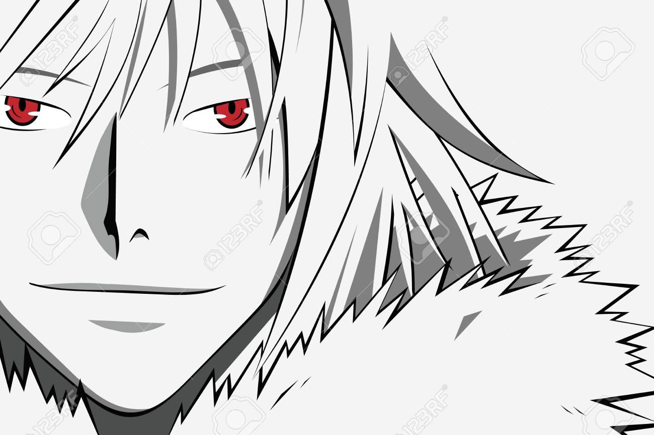 Anime visage aux yeux rouges de dessin animé. Bannière Web pour anime, manga sur fond blanc.