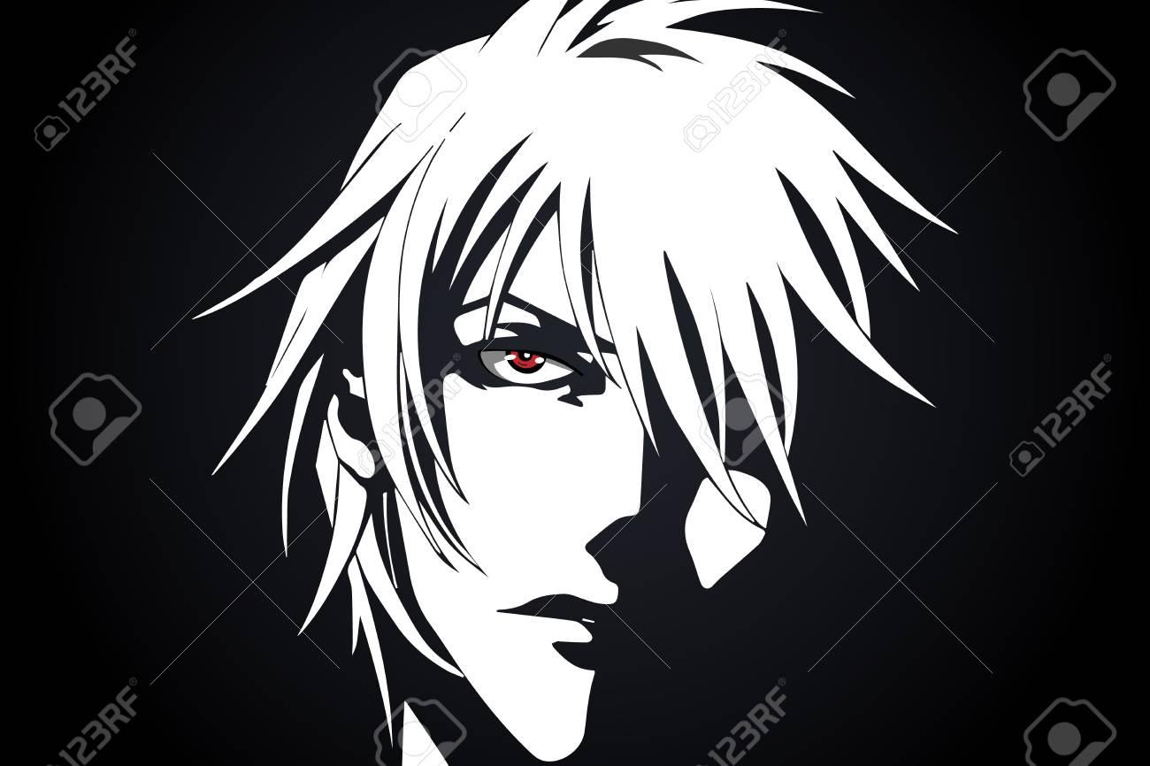 Anime visage de bande dessinée avec les yeux rouges de bande dessinée sur fond noir et blanc. illustration vectorielle
