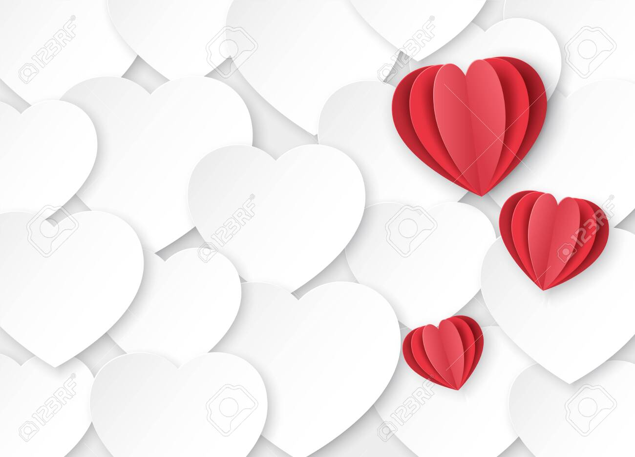 Red paper hearts for Valentine's day on a white background. Origami. Poster with place for text - 138734061