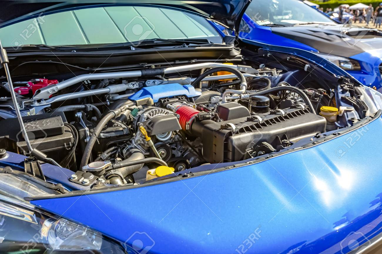 Engine Under The Hood Of A Modern Blue Car. Engine And Other.. Stock ...