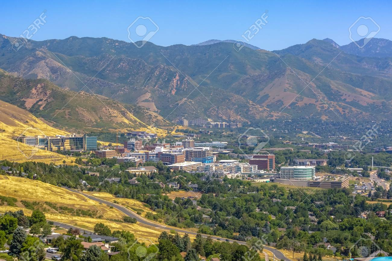 Suburban Salt Lake City Views Of Homes Nature Plants Trees Stock Photo Picture And Royalty Free Image Image 105386659