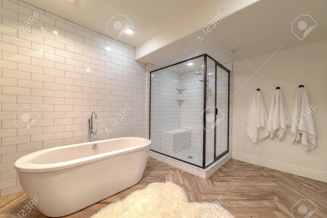 Contemporary Bathroom With Free Standing Bath Tub A Contemporary Stock Photo Picture And Royalty Free Image Image 132672167