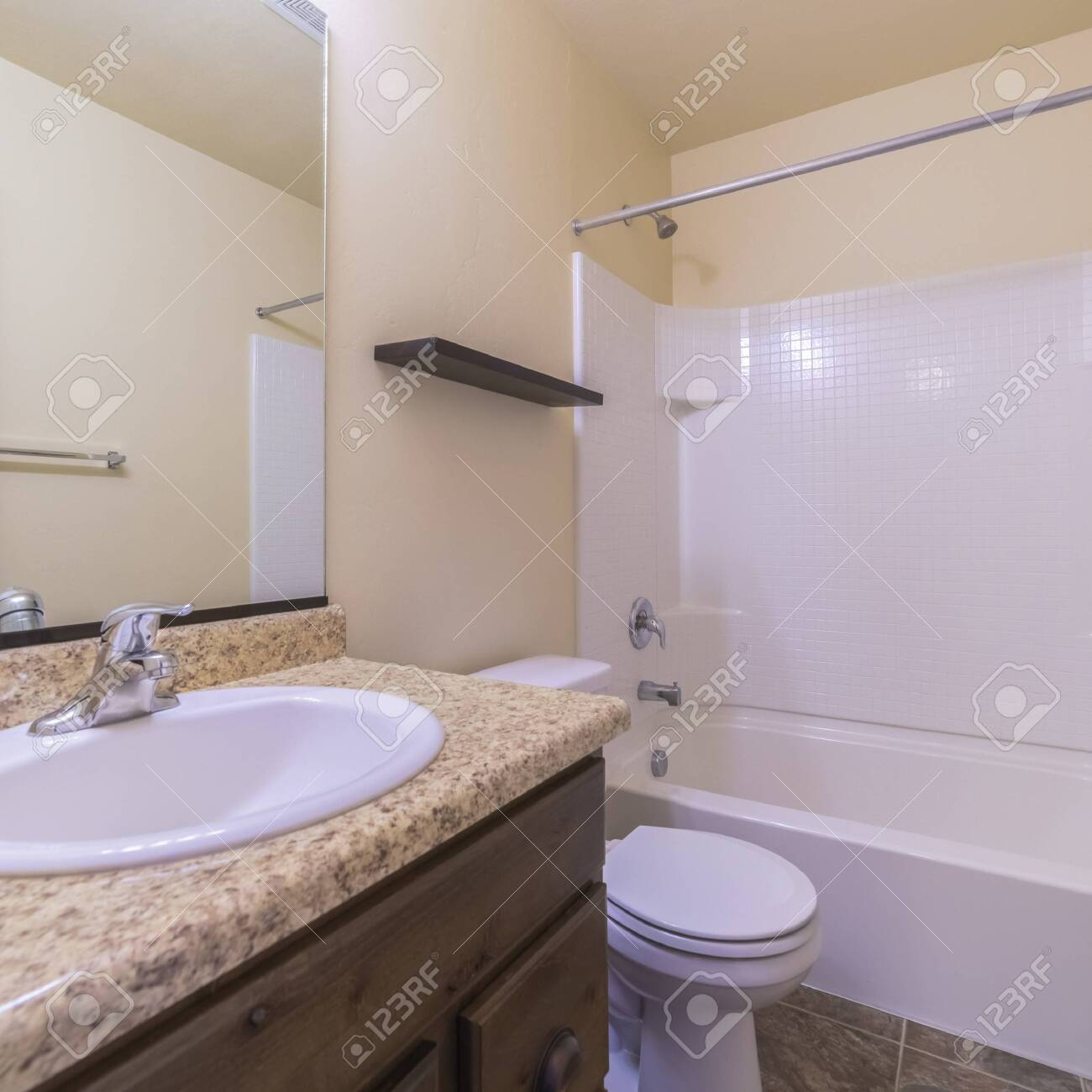 Square Frame Small Modern Bathroom Interior With Marble Vanity Stock Photo Picture And Royalty Free Image Image 137169919