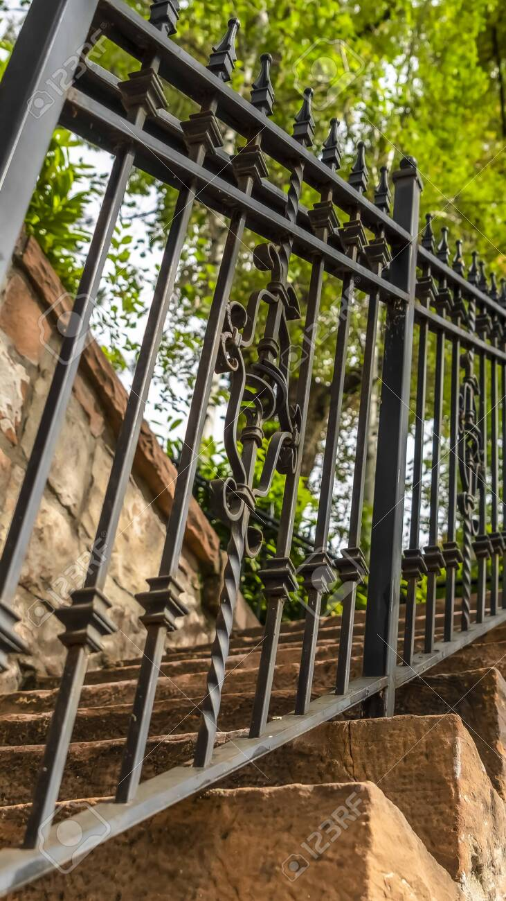 Vertical Frame Close Up Of Metal Railing And Stone Treads Of Stock Photo Picture And Royalty Free Image Image 137178802