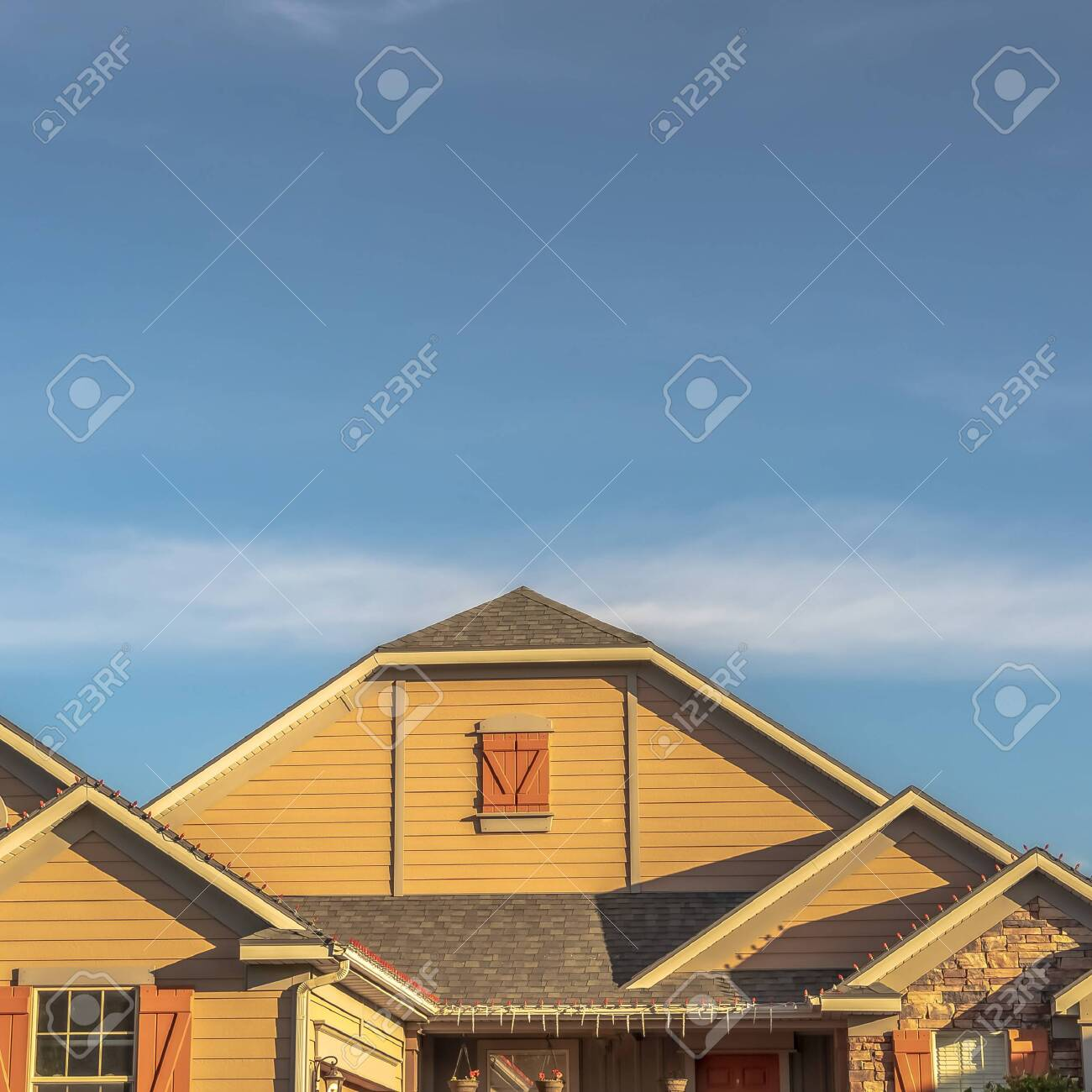 Square House Exterior With View Of The Gable Roof With Gable Stock Photo Picture And Royalty Free Image Image 137234727