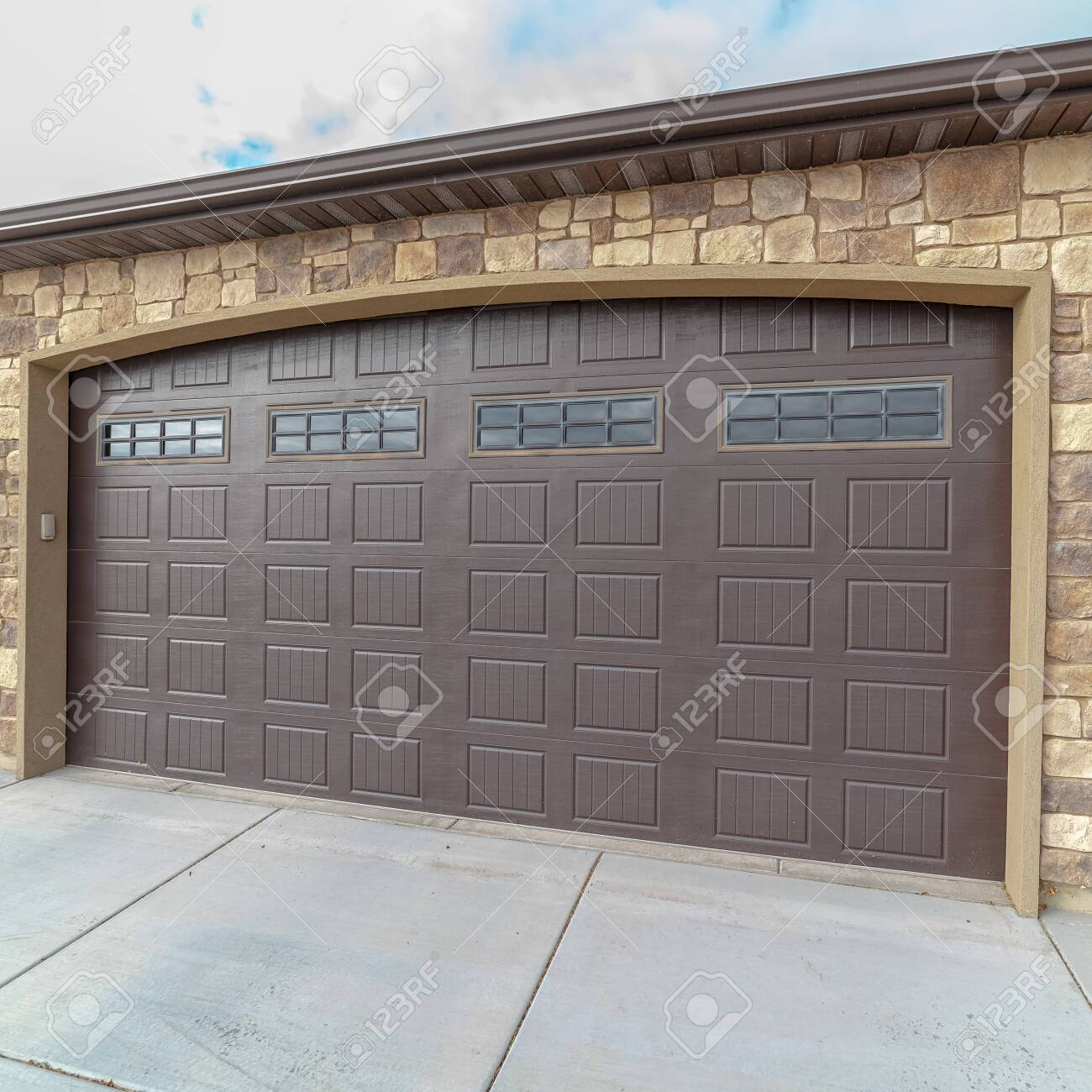 Square Frame Large Closed Double Wooden Garage Door Day Light Stock Photo Picture And Royalty Free Image Image 137693768
