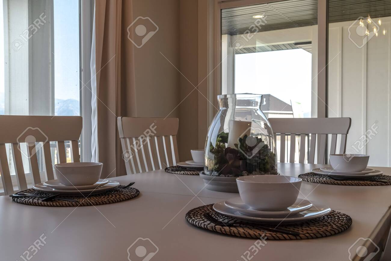 Table Setting At The Dining Room Of Home Against Window And Glass Stock Photo Picture And Royalty Free Image Image 139153416