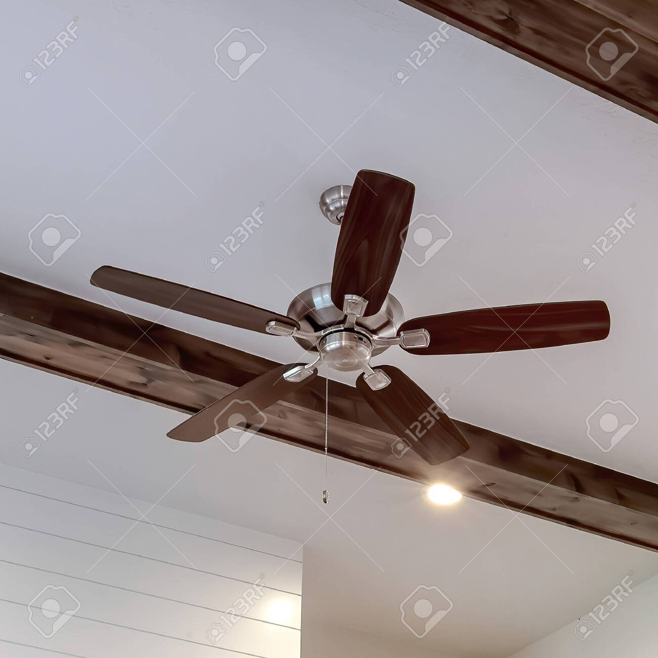 Square Wood Beams And Recessed Bulbs With Ceiling Fan And Lights Stock Photo Picture And Royalty Free Image Image 149181971