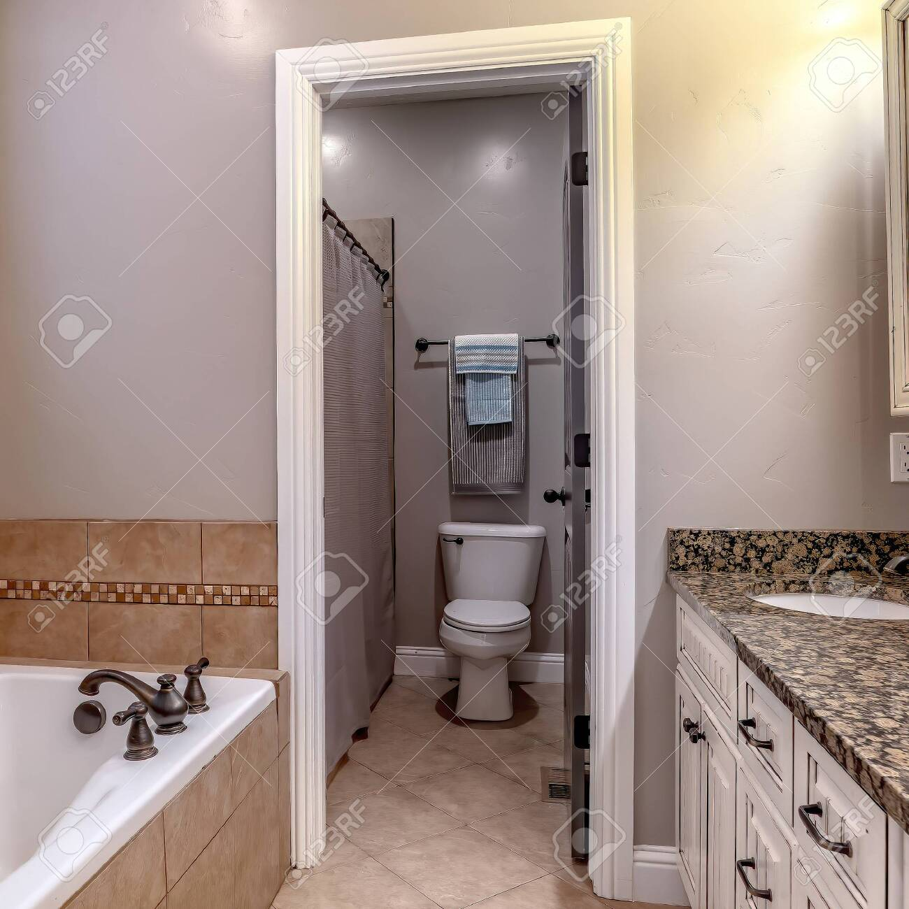 Square Crop Bathroom Interior With Bathtub Double Sink Vanity Stock Photo Picture And Royalty Free Image Image 149187693