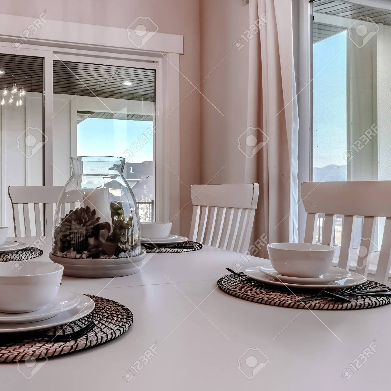 Square Frame Dining Table With Chairs And Tableware Arranged Stock Photo Picture And Royalty Free Image Image 149375733