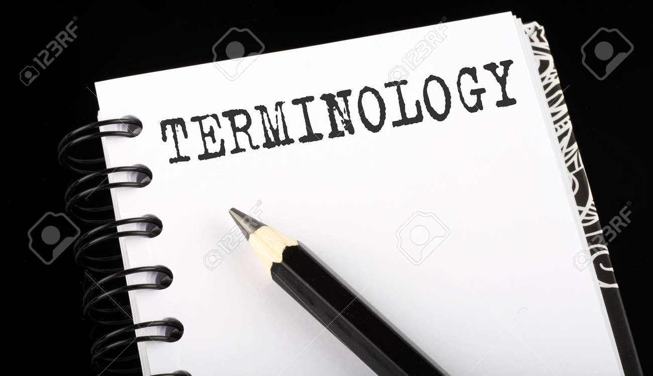 TERMINILOGY written text in small notebook on black background - 168849961
