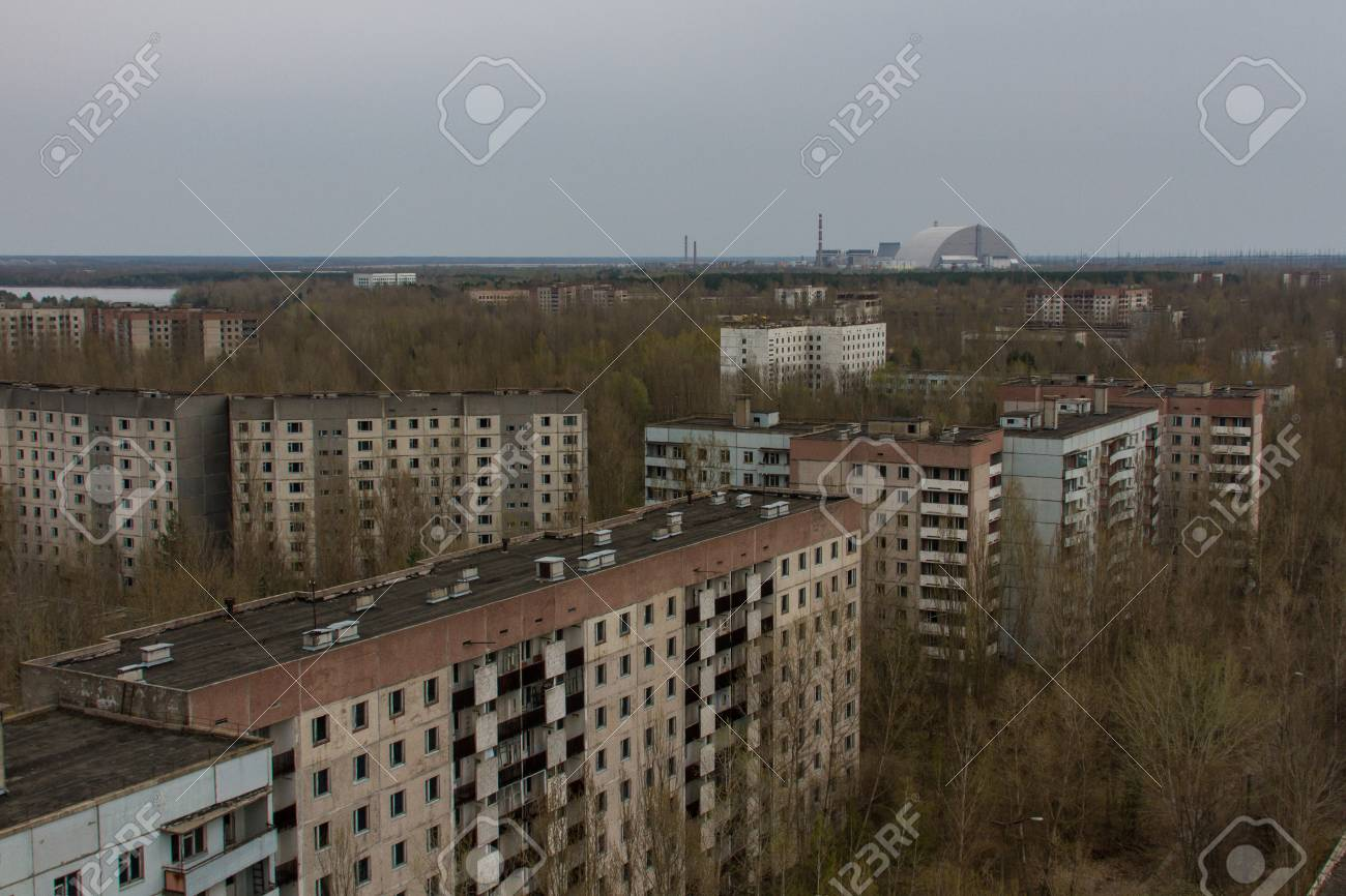 View of the empty buildings in dead city Pripyat, from above