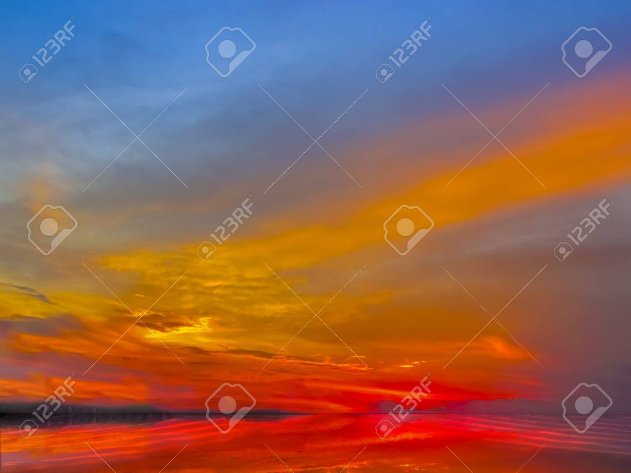 sunset sky of deep multiple colors of after glow scaterred rays