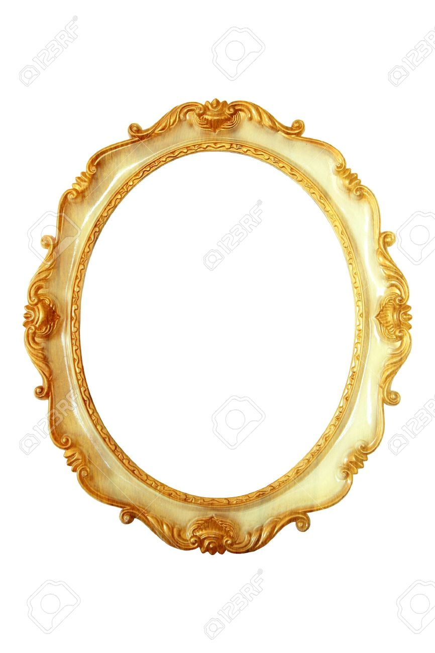 ovalada de color dorado marco de la imagen foto de archivo