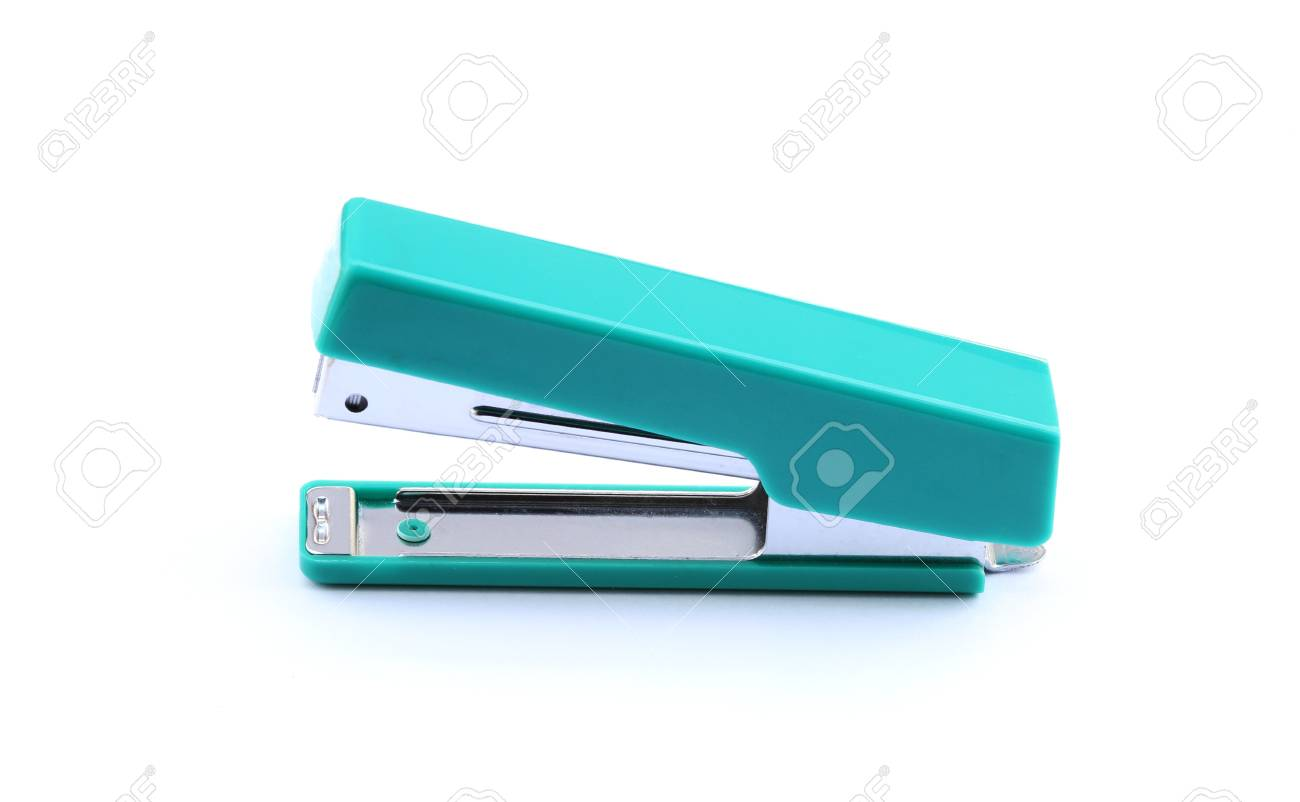 Green stapler isolated on white background Stock Photo - 13595093