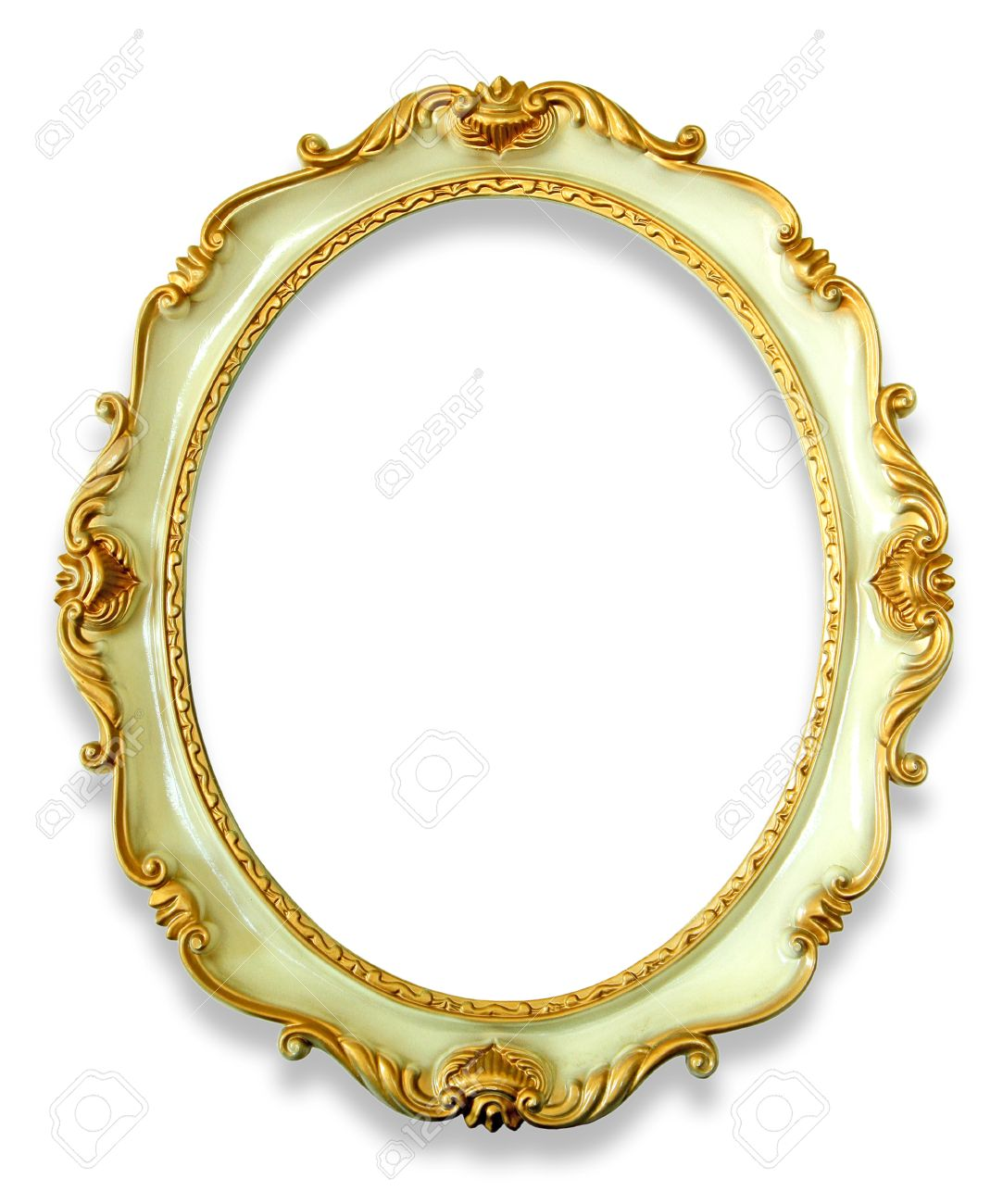 Vintage Oval Frame Isolated On White Background Stock Photo, Picture ...