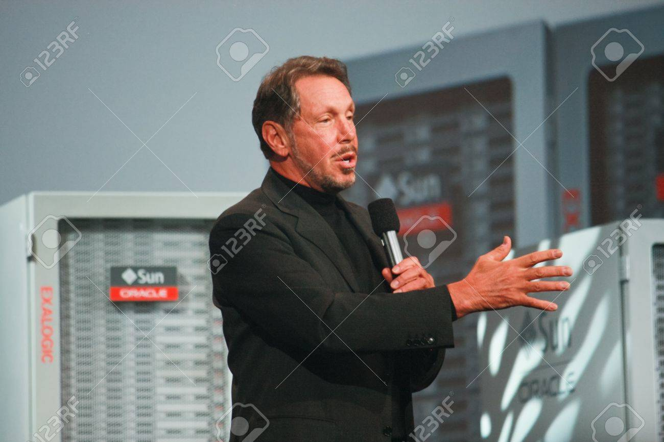 SAN FRANCISCO, CA, OCT 2, 2011 - CEO of Oracle Larry Ellison makes his first speech at Oracle OpenWorld conference in Moscone center on Oct 2, 2011. He is the third in the Forbes list of richest US persons Stock Photo - 11117422