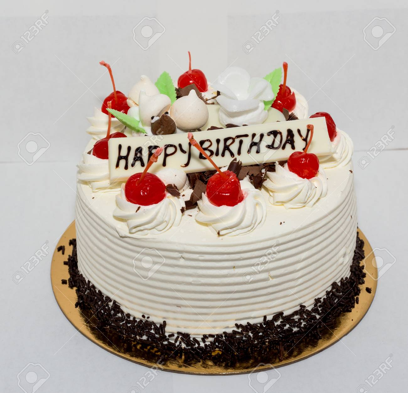 Happy Birthday Cake Images.Black Forest Cake With The Words Happy Birthday