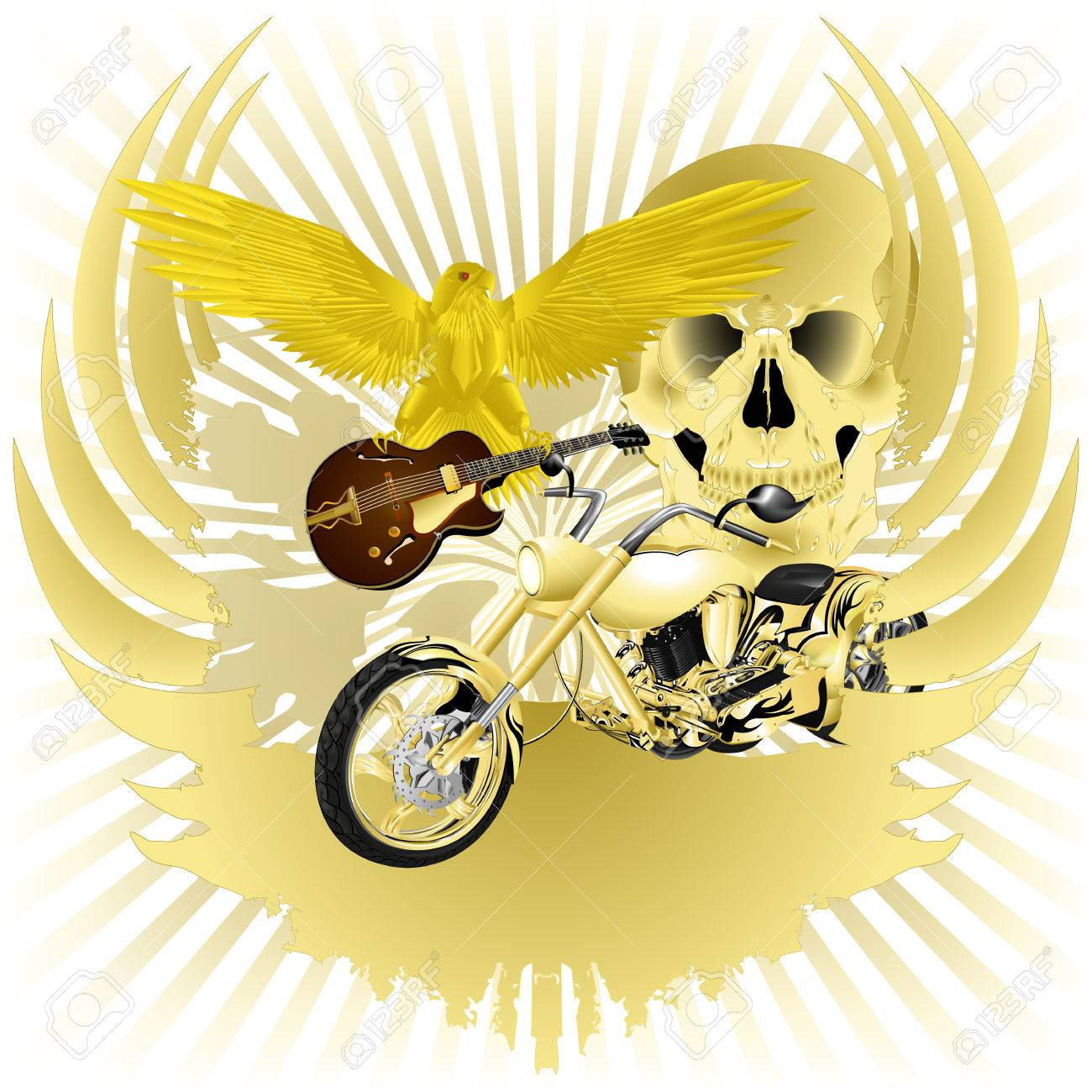 Rock n roll background images - Rock N Roll Vector Illustration Background And Golden Chopper Stock Vector 35948677