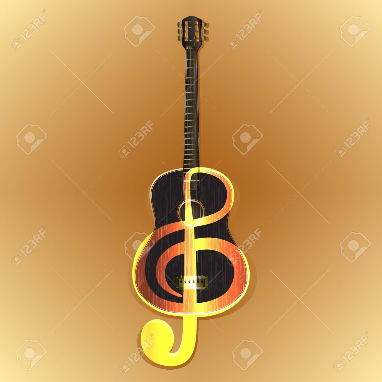 Ilustración Vectorial De Una Guitarra Acústica Con La Imagen De Una Clave De Sol En El Color De Fondo De Madera