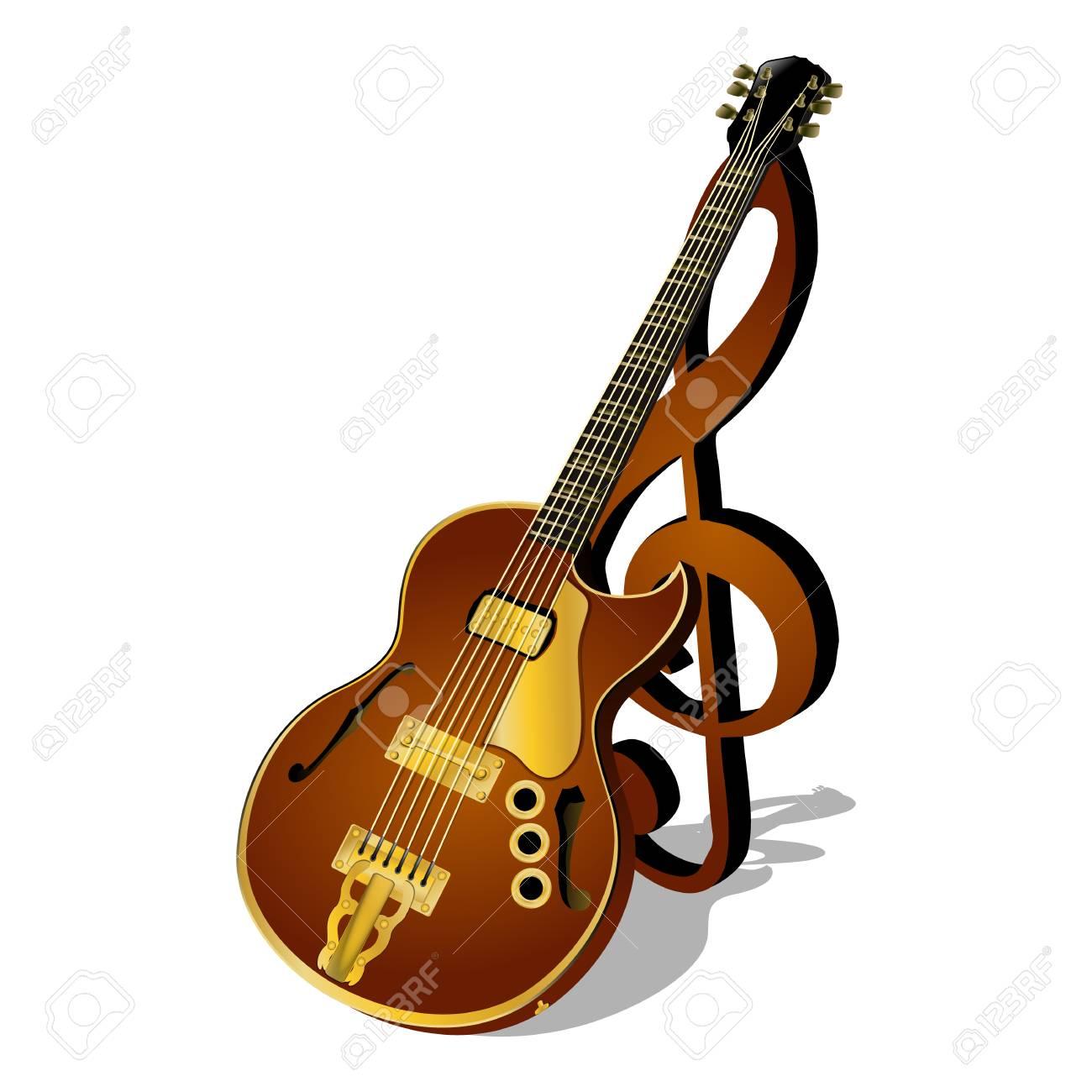 Ilustración Vectorial De Una Guitarra De Jazz Con Una Clave De Sol Y Aislados Sombra Cartel Modelo Objeto O Cartelera