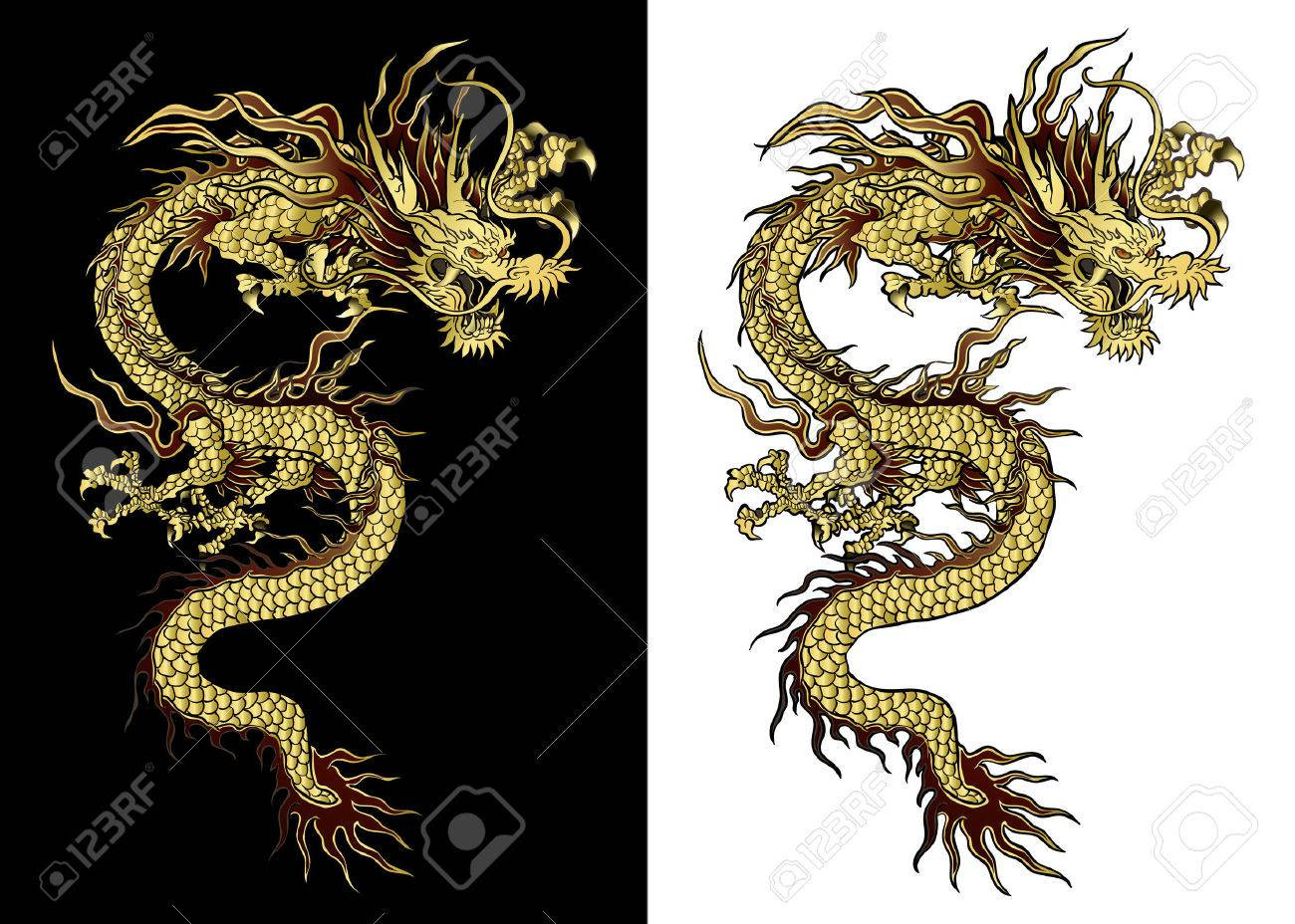 vector illustration Traditional Chinese dragon gold on a black