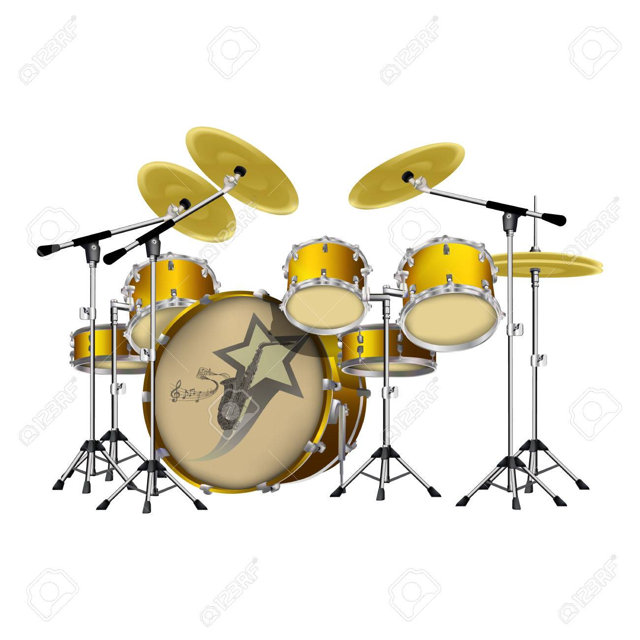Vector Illustration Of A Drum Set, A Set Of Drums For A Music ...