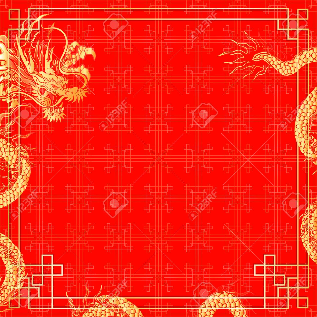 vector illustration pattern with golden ornament chinese red