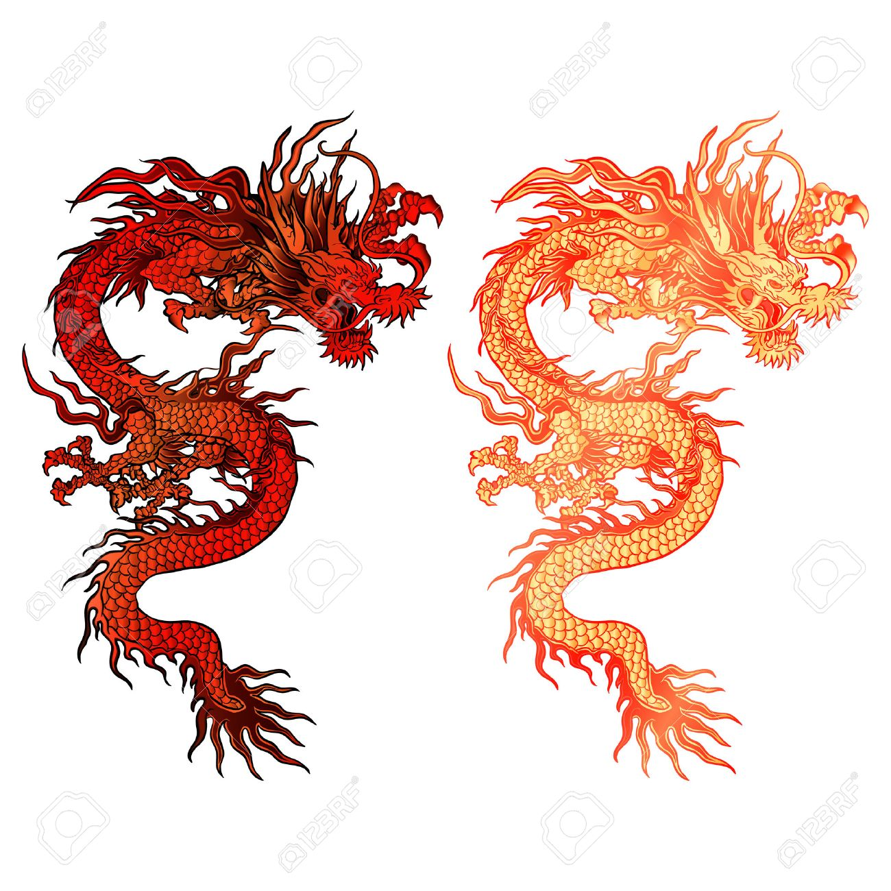 Vector Illustration D Un Dragon Rouge Chinois Deux Options De